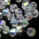 Crystal beads, Auralescent Crystal, Crystal, White AB, Faceted Bicones, Diameter 6mm, 15 Beads, [ZZB044]